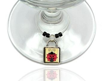 Cute Ladybug Wine Glass Drink Marker Charm Ring