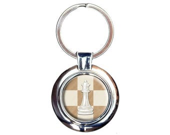White Queen Chess Set Keychain Key Ring