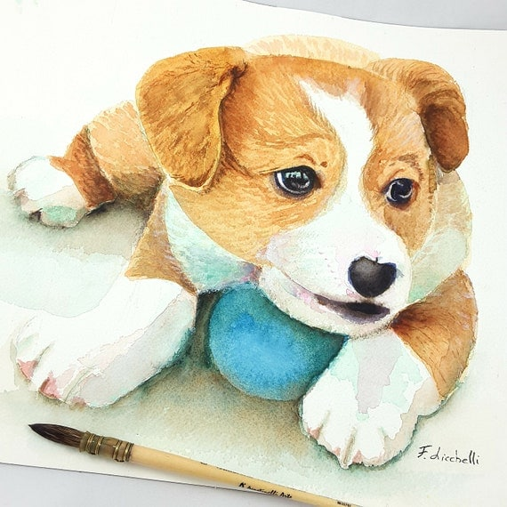 Puppy, dog, original watercolor by Francesca Licchelli, pet portrait, ooak, gift idea for baptism or birth, home decoration, child's bedroom