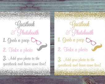 Photo booth sign, Pink and Gold, Photo booth sign printable, Photobooth sign, Photobooth Wedding Sign, Wedding Reception Sign