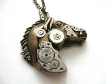 Horse jewelry Steampunk horse Necklace Mechanical animal pendant Steampunk animals Horse neclace Clockwork neclace Vintage necklace