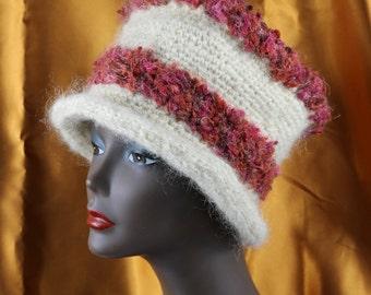 Beautiful Cloche like Hand Crochet Hat, Mostly Mohair - HAT6023 OOAK