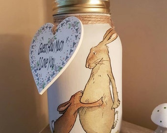 Guess How Much I Love You - Chalk Painted Mason Jar