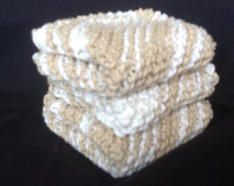 Knitted Dishcloths Set of 3 - Natural Ombre