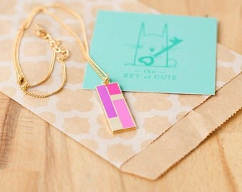 Pink Color Block Necklace