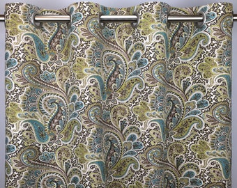 Paisley Curtains - FREE SHIPPING - Green Blue Brown Floral Rod Pocket Drapes - Grommets - Lined/Unlined - Valance- 24 50 x 84 96 108 120