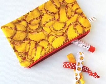 Softball fabric zip pouch, make-up pouch, pencil case, yellow fabric with softballs