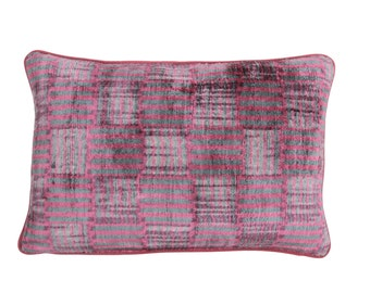 16'' x 23'' velvet ikat pillow , hand-woven ikat ,modern ikat cushion cover , decorative cushion