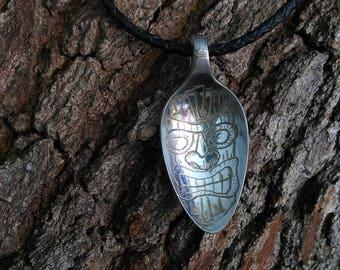 Tiki head spoon pendant