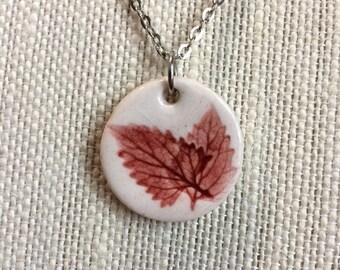 Red Leaf Porcelain Ceramic Pendant Necklace