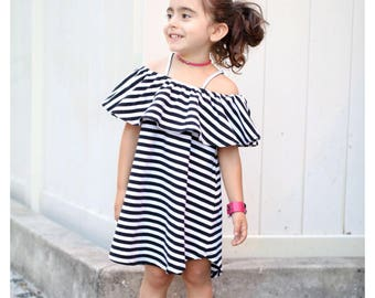 Toddler dress, little girl clothes, ruffle dress, off the shoulder dress, striped dress, high low dress, summer dress, scrappy dress