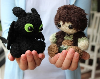 How to Train Your Dragon Toothless & Hiccup crocheted dolls