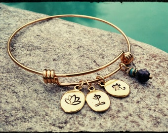 Triple Lotus & Labradorite - Hand Stamped Disc with Three Lotus Designs - Stainless Bangle//Choose Gold or Silver//Yoga- Meditation -Gift