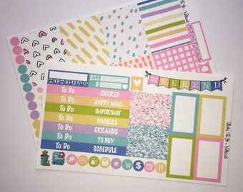 Pastel Spring Mini Weekly Set ECLP Horz & Vert Planner Stickers Erin Condren Mambi Inkwell Press Filofax KikkiK Happy