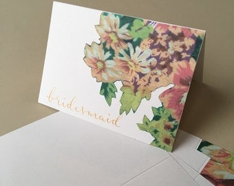 Handmade decoupage floral and metallic gold bridesmaid greeting card