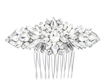Wedding hair comb, silver hair comb, rhinestone hair comb, bridal hair comb, hair comb.