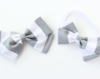 Gray and white striped bow, baby girl, fabric bow, nylon headband or clip