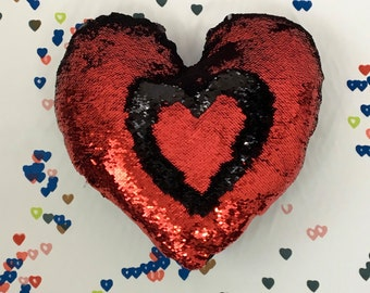 Be Mine! Heart Shaped Mermaid Pillows, Love Sequin Pillows Cover, Interactive Pillow, Sequin Pillow, Luxury Sequin Pillows