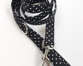 Black and White Polka Dot 5 foot Dog Leash, Dog Leash, 5 foot leash, handmade leash, custom leash