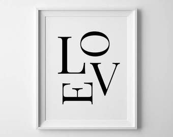 Love Digital Print, Typography Wall Art, Love Print, Love Printable, Typography Print, Love Wall Art, Modern Home Decor