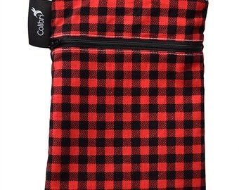 Ready to ship - Mini Wet Dry Bag with 2 zippers and PUL liner - Plaid