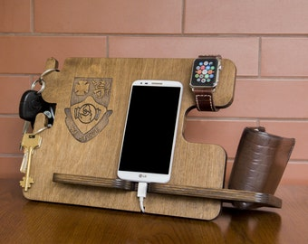 Personalized docking station - iPhone charging stand, gift idea - Mens charging dock