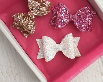 Gold glitter hair bow, white glitter hair bow, purple glitter hair bow, baby/girls hair bow