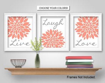 PRINTS or CANVAS or Printable Digital Download - Dahlia Flower Burst Live Laugh Love Wall Art - Live Laugh Love Wall Decor - Coral, Grey
