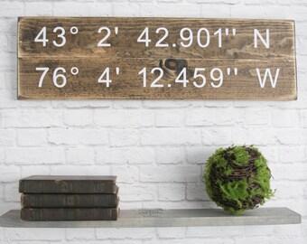 Longitude Latitude Sign - GPS Coordinates Wood - Personalized Gift - Wall Art – Wood Home Wall Décor- Popular Wood Sign Decor - Custom Sign