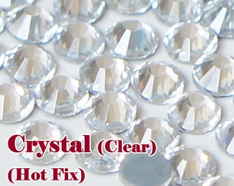 Crystal (Hot Fix) Iron On (1.3mm-8mm) Glass Flat Back Rhinestones Facet Round Hotfix (Clear) ss3-ss40 (WHOLESALE) - 144/1440/28800pcs