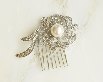 Crystal Flower Head Hair Comb