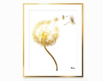 Dandelion botanical illustration , Dandelion print , botanical art , Dandelion minimalist , Dandelion poster , Dandelion botanical print art