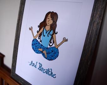 Yoga Girl Digital Illustration Poster Print