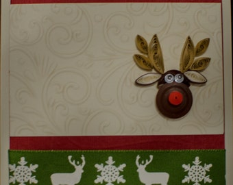 Christmas Greeting Card - Reindeer Green Lace