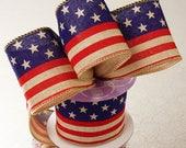 """2 1/2"""" American Flag Wired Ribbon, Patriotic Ribbon, Summer Ribbon, Memorial Day Ribbon, Fourth of July Ribbon, Wreath Ribbon,"""