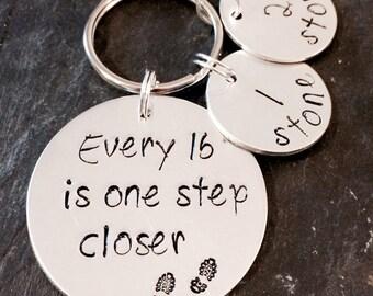 Weight loss, weight loss keyring, weight loss tracker, motivation, weight loss milestones, milestones, weight loss journey, slimming keyring