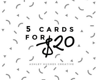 5 Cards for 20 / Card Pack / Note Card Set / Pack of Cards / Foil Handmade Greeting Cards