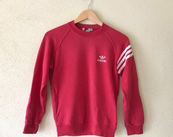 Rare!!Vintage 90's ADIDAS Trefoil Sweatshirt Spell Out Small Logo Embroidery Street wear hip hop navy red colour