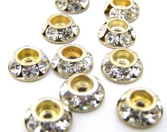 10 Vintage Crystal Rhinestone Components/Spacers/Caps.  Gold Plated.  8mm