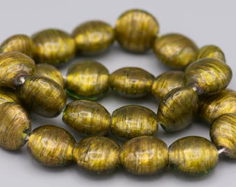 12 Green/Gold Glass Tab Beads 16X18mm