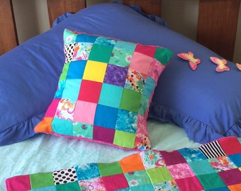 Bright patchwork minky soft decorative throw pillow cover. Home or nursery decor. Cushion cover. Bright pink minky