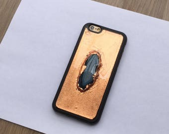 Rose Gold iPhone 6 /6S Case Agate case Blue iPhone 6 /6S Case Clear rubber iPhone 6S case rose gold blue agate resin phone case - T20712