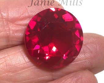 Ruby Faceted Gemstone 18mm round