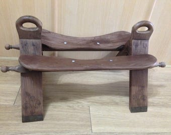 Bohemian ethnic inlayed wooden camel saddle bench stool foot rest