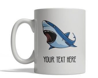 Angry Shark Mug - Personalized Custom Text Ceramic Coffee Cup Tea, 11 oz, marine ocean