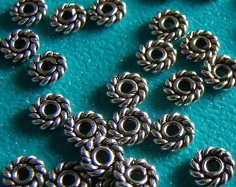 Sterling Silver .925 4mm Oxidized Twisted Ring Bead Spacers Qty of 30