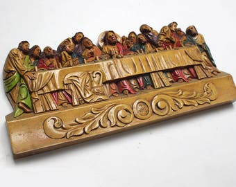 Vintage Wood Carved Last Supper