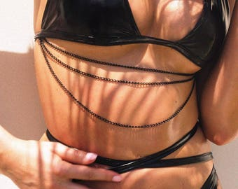 Spade Chain Bikini,Two Piece Swimsuit,Metallic Swimsuit,Metallic Bikini,Gold Swimsuit,Detachable Chain Swimsuit