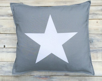 READY TO SHIP! Grey white  Star Pillow with Cotton Cover 40x40 cm