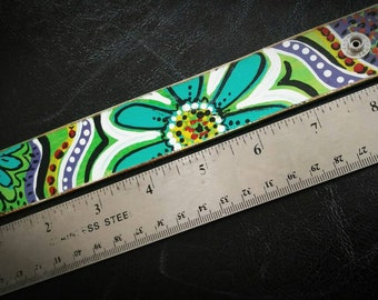 Leather cuff painted green floral